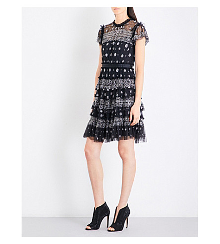 NEEDLE AND THREAD Andromeda embellished tulle mini dress (Washed+black