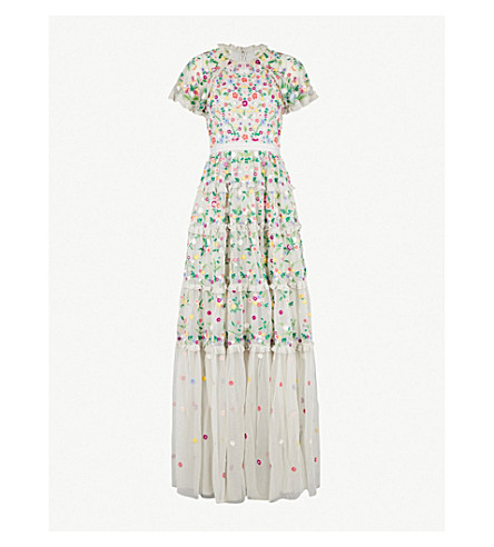 NEEDLE AND THREAD Lazy Daisy embroidered tulle gown (Bleached+blue