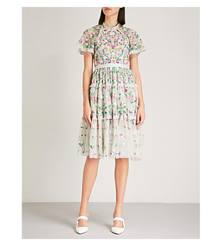 NEEDLE AND THREAD Lazy Daisy embroidered tulle dress (Bleached+blue