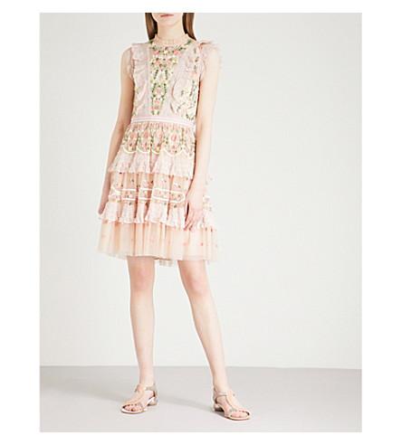 NEEDLE AND THREAD Lattice embroidered tulle mini dress (Petal+pink
