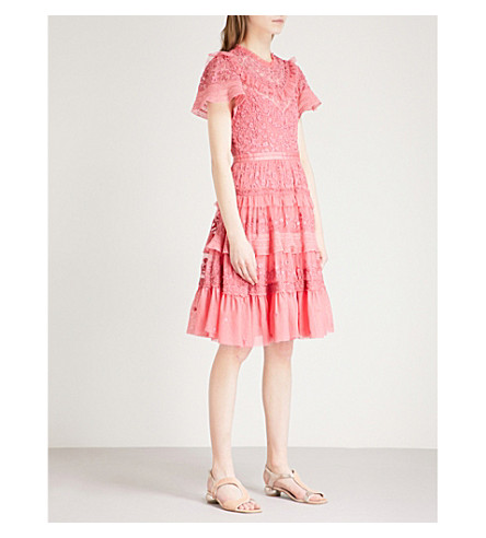 NEEDLE AND THREAD Iris embroidered tulle dress (Hot+pink