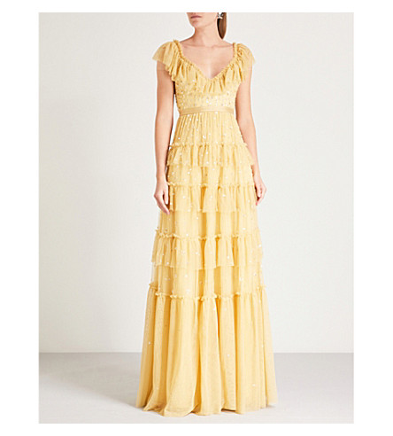 NEEDLE AND THREAD Sunburst sequin-embellished tulle gown (Sunflower