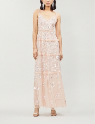 NEEDLE & THREAD Floral Gloss Embellished Tulle Maxi Dress in Rose Quartz