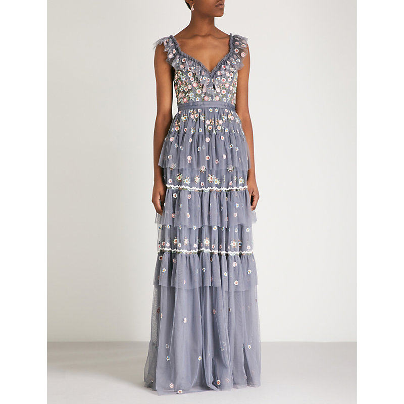 NEEDLE & THREAD | Whimsical Embroidered Chiffon Gown | Goxip