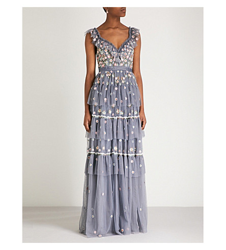 NEEDLE AND THREAD Whimsical embroidered chiffon gown (Vintage navy