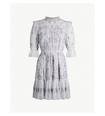NEEDLE AND THREAD Lace Illusion embroidered tulle mini dress (Dusk blue