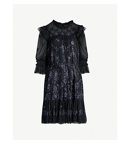 NEEDLE AND THREAD Lace Illusion embroidered tulle mini dress (Washed blk