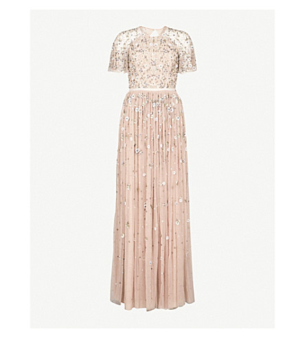 NEEDLE AND THREAD Comet embroidered tulle gown (Faded+rose