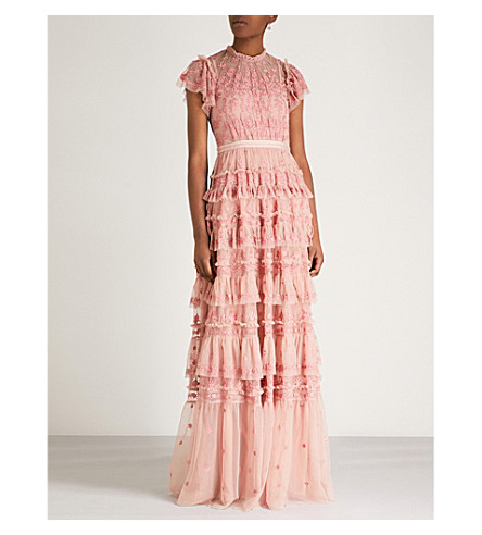 NEEDLE AND THREAD Darcy embroidered chiffon gown (Vintage rose