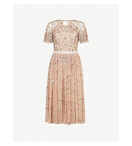 NEEDLE AND THREAD Comet embroidered tulle dress (Faded+rose