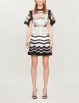 Alaska striped sequinned mini dress