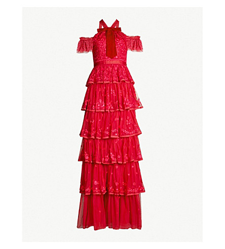 NEEDLE AND THREAD Zelda floral-embroidered tulle gown (Deep red