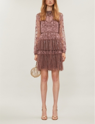 Starling semi-sheer tulle and lace mini dress