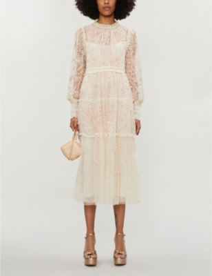 Whitethorn floral-embroidered tulle midi dress