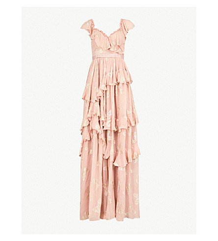 NEEDLE AND THREAD Butterfly embroidered chiffon gown (Vintage rose