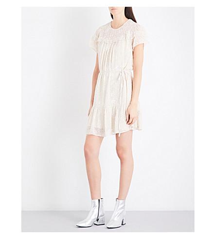 NEEDLE AND THREAD Velvet silk-devore mini dress (Champagne