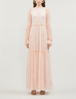Anya ruffled embellished tulle gown