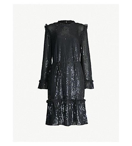 NEEDLE AND THREAD Gloss Sequin crepe mini dress (Black