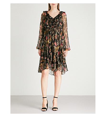 NEEDLE AND THREAD Rainbow Rose chiffon dress (Black