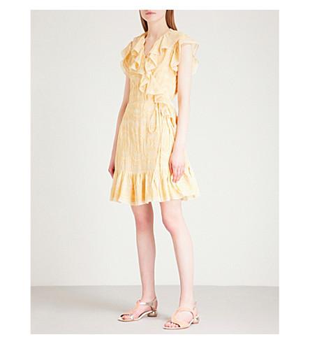 NEEDLE AND THREAD Anglaise chiffon wrap dress (Yellow