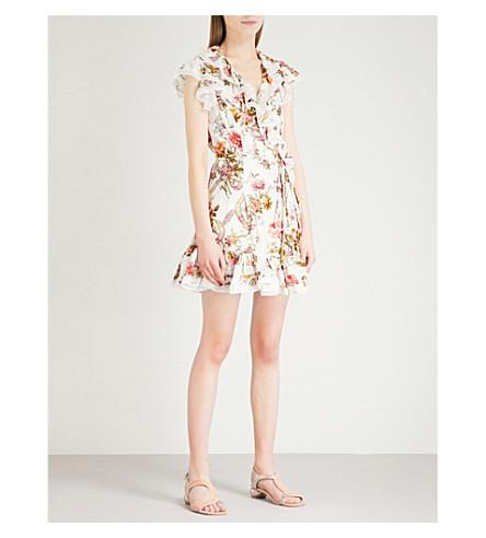 NEEDLE AND THREAD Rainbow Rose crepe mini dress (Ivory