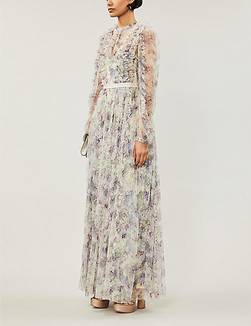 NEEDLE 和 THREAD 丁香花花印花褶皱薄纱礼服