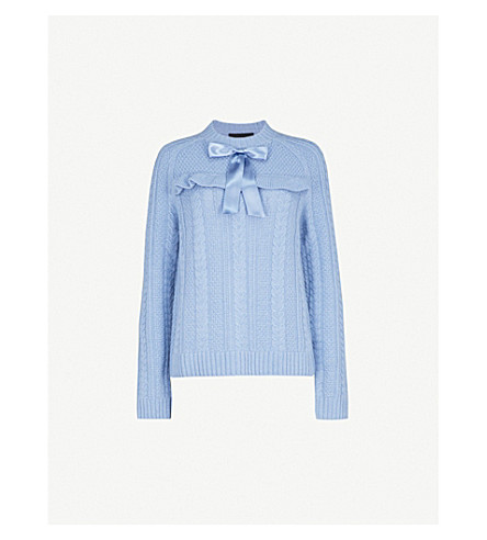 NEEDLE AND THREAD Bow-detail cable-knit wool jumper (Blue