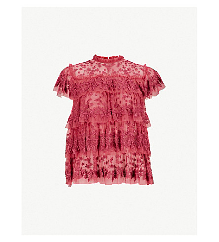 NEEDLE AND THREAD Heather floral-embroidered tulle top (Heather