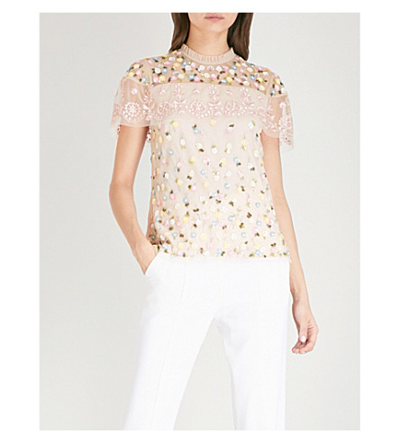 NEEDLE AND THREAD Tiered Anglais embroidered tulle top (Petal+pink