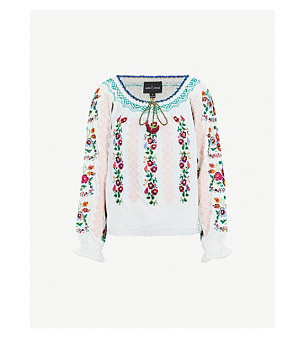 NEEDLE AND THREAD Cross-stitched floral crepe blouse (White