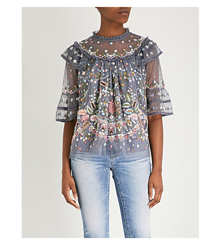 NEEDLE AND THREAD Floral-embellishment chiffon top (Vintage navy