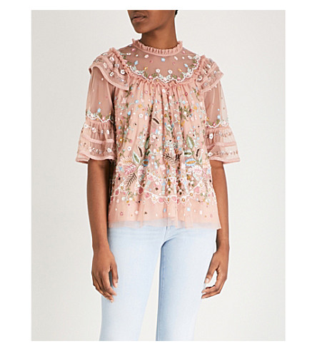 NEEDLE AND THREAD Floral-embellishment chiffon top (Vintage rose