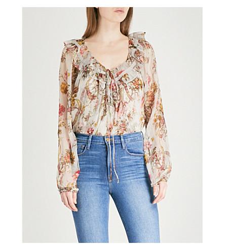 NEEDLE AND THREAD Rainbow Rose chiffon blouse (Spearmint