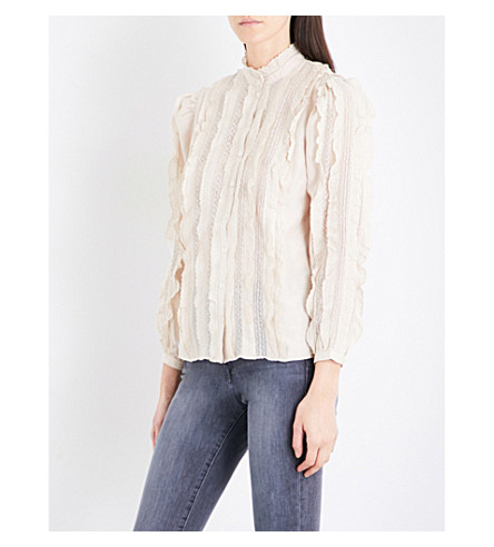 NEEDLE AND THREAD Ruffled silk blouse (Champagne