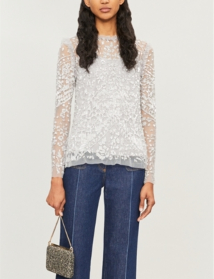 Aurora floral-embroidery tulle top