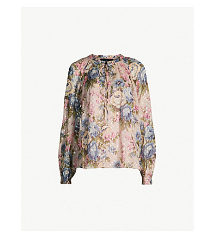 NEEDLE AND THREAD Painted Rose georgette top (Pink sand