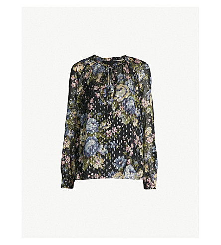 NEEDLE AND THREAD Painted Rose georgette top (Washed blk