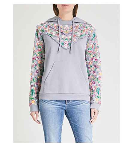 NEEDLE AND THREAD Lazy Daisy cotton-jersey hoody (Washed+blue