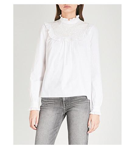 NEEDLE AND THREAD Ruffled-trim cotton blouse (White