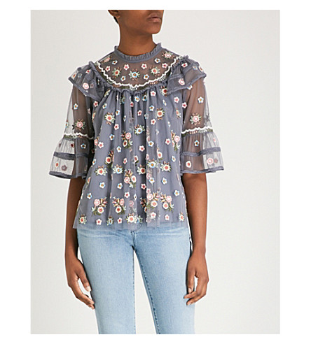 NEEDLE AND THREAD Whimsical chiffon top (Vintage navy