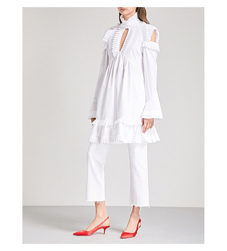 MAGGIE MARILYN Olivia's cold-shoulder pleated cotton-poplin dress (White