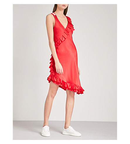 MAGGIE MARILYN My Special Something cold-shoulder ruffled silk-satin dress (Red