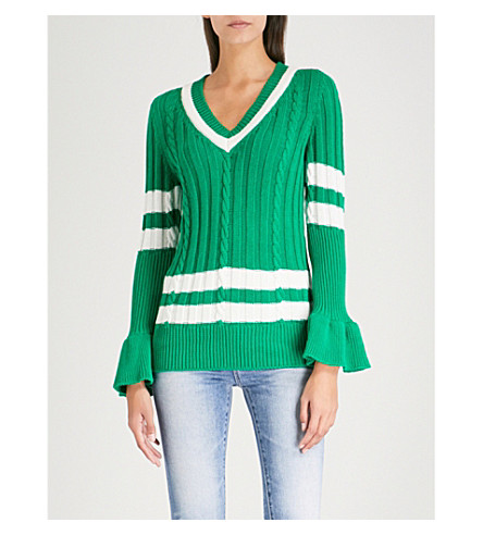 MAGGIE MARILYN Go the Distance cotton jumper (Green/white