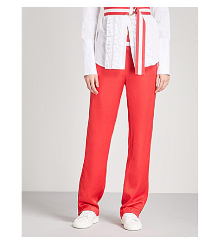 MAGGIE MARILYN Trailblazer striped straight satin jogging bottoms (Red
