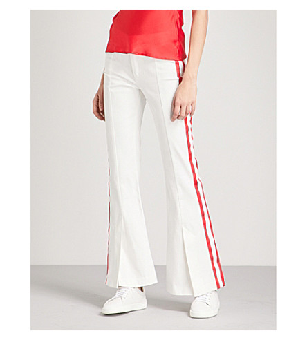 MAGGIE MARILYN Game Changer striped flared cotton trousers (White
