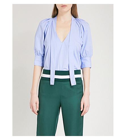 MAGGIE MARILYN You Lift Me Up V-neck striped cotton blouse (Cornflower+blue+stripe
