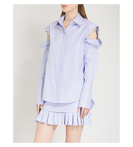 MAGGIE MARILYN There's Something striped cotton shirt (Blue+white+stripe