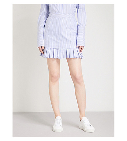 MAGGIE MARILYN Lucy striped mid-rise cotton mini skirt (Blue+white+stripe