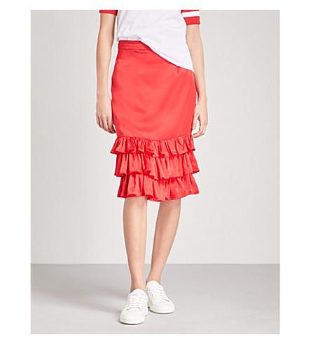 MAGGIE MARILYN Billi Mac ruffled silk-satin skirt (Cherry+red