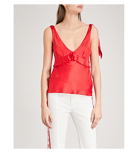 MAGGIE MARILYN Diana V-neck ruffled silk-satin top (Cherry+red